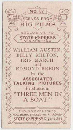 William Austin + Billy Milton 1935 Ardath SCENES FROM BIG FILMS Tobacco Card #67