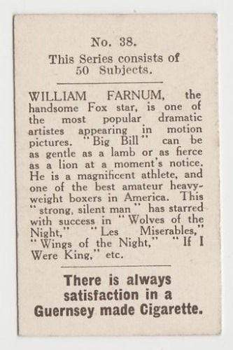 William Farnum 1923 Bucktrout Cinema Stars Tobacco Card #38