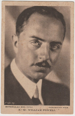 William Powell 1920s Kashin Motion Picture Stars Large Trading Card W618