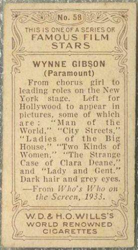 Wynne Gibson 1934 Wills Famous Film Stars Tobacco Card #58 - Standard Size