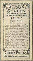 Wynne Gibson 1936 Godfrey Phillips Stars of the Screen Tobacco Card #43