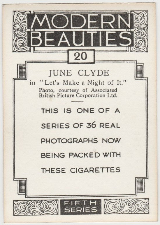 June Clyde 1938 BAT Modern Beauties XL Trading Card Series 5 #20