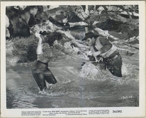 Yvonne De Carlo whips Neville Brand 1956 8x10 STILL PHOTO Raw Edge 1807-28