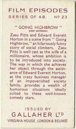 ZaSu Pitts + Edward Everett Horton 1936 Gallaher Film Episodes Tobacco Card #23