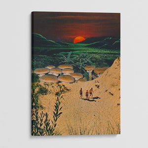 canvas print of people walking under the sunset