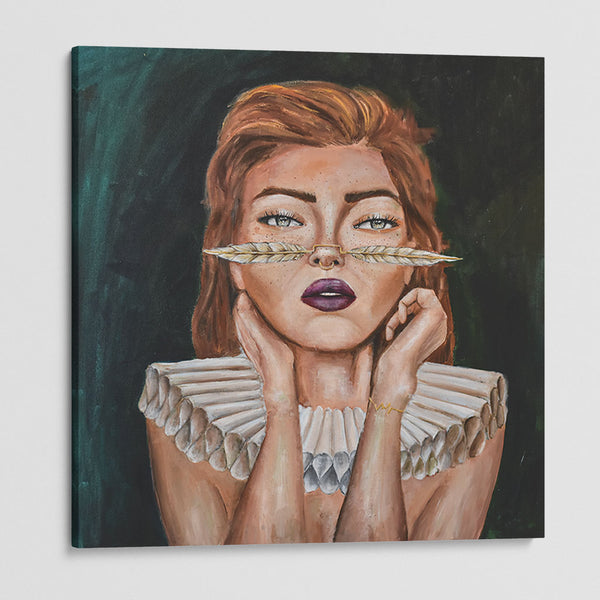 canvas print of a women using a feather on her nose