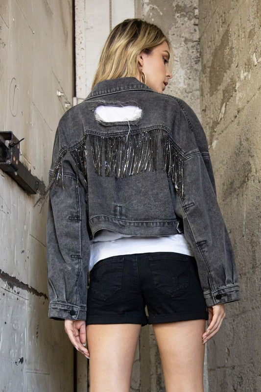 Lay It All On Me: Rhinestone Dark Wash Denim Jean Jacket