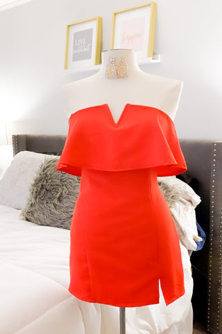Celebrate Good Times Strapless Red Dress