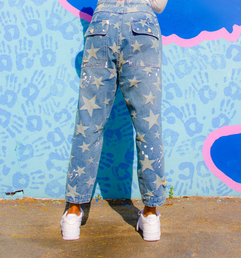 Star Print Denim Taper Jeans-Pants-Willye Leigh Boutique-Willye Leigh Boutique