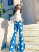 Load image into Gallery viewer, Star of the Show - Denim Star Printed Flare Jeans