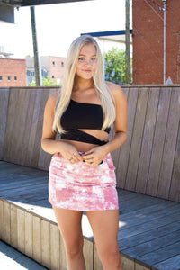 We're Breaking Free: Tie Dye Skirt Pink