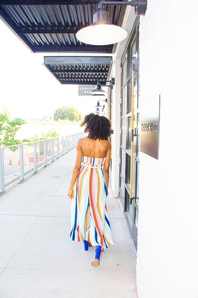 Wildest Dreams - Rainbow Striped Sleeveless Jumpsuit