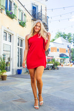 Load image into Gallery viewer, Tell Me You Love Me - Red One-Shoulder Ruffle Dress