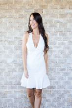 Load image into Gallery viewer, V-Neck White Ruffle Trim Graduation Dress | Willye Leigh