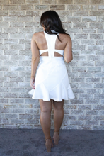Load image into Gallery viewer, Open Back White Ruffle Trim Graduation Dress | Willye Leigh