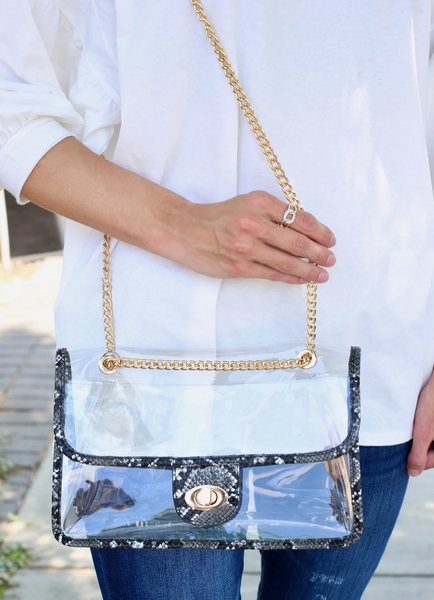 A Perfect Night - Clear Crossbody Snakeskin Game Day Bag