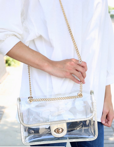 Gold Love - Clear Crossbody Game Day Bag : Gold