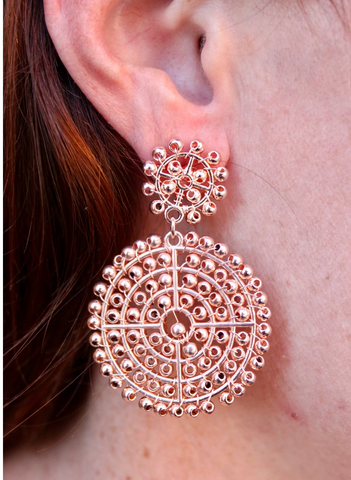 Taylor Drop Bead and Metal Circle Earring - Rose Gold