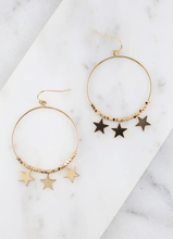 Load image into Gallery viewer, Stars In The City - Gold Hoops With Star Charms