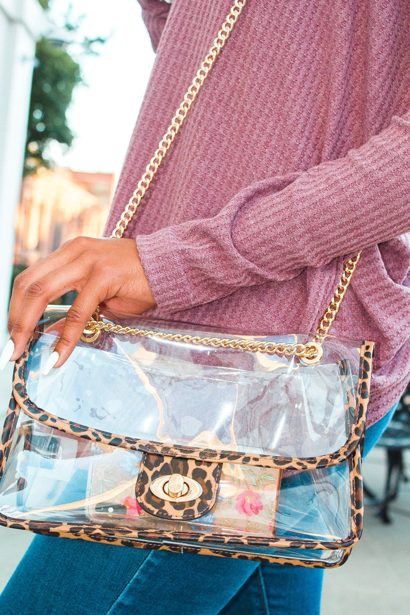 Totally Obsessed - Clear Crossbody Leopard Game Day Bag