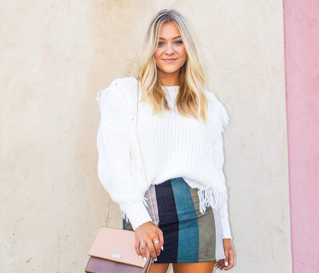 Take It From Me - White Fringe Sweater
