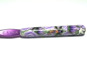 Purple Floral with Dragonflies & Doves Crochet Hook 6.5 mm