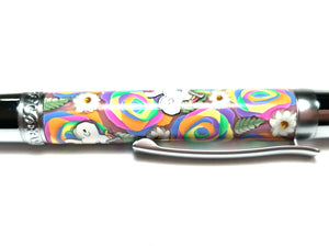 Rainbow Roses & Unicorns Elegant Beauty Chrome Twist Pen