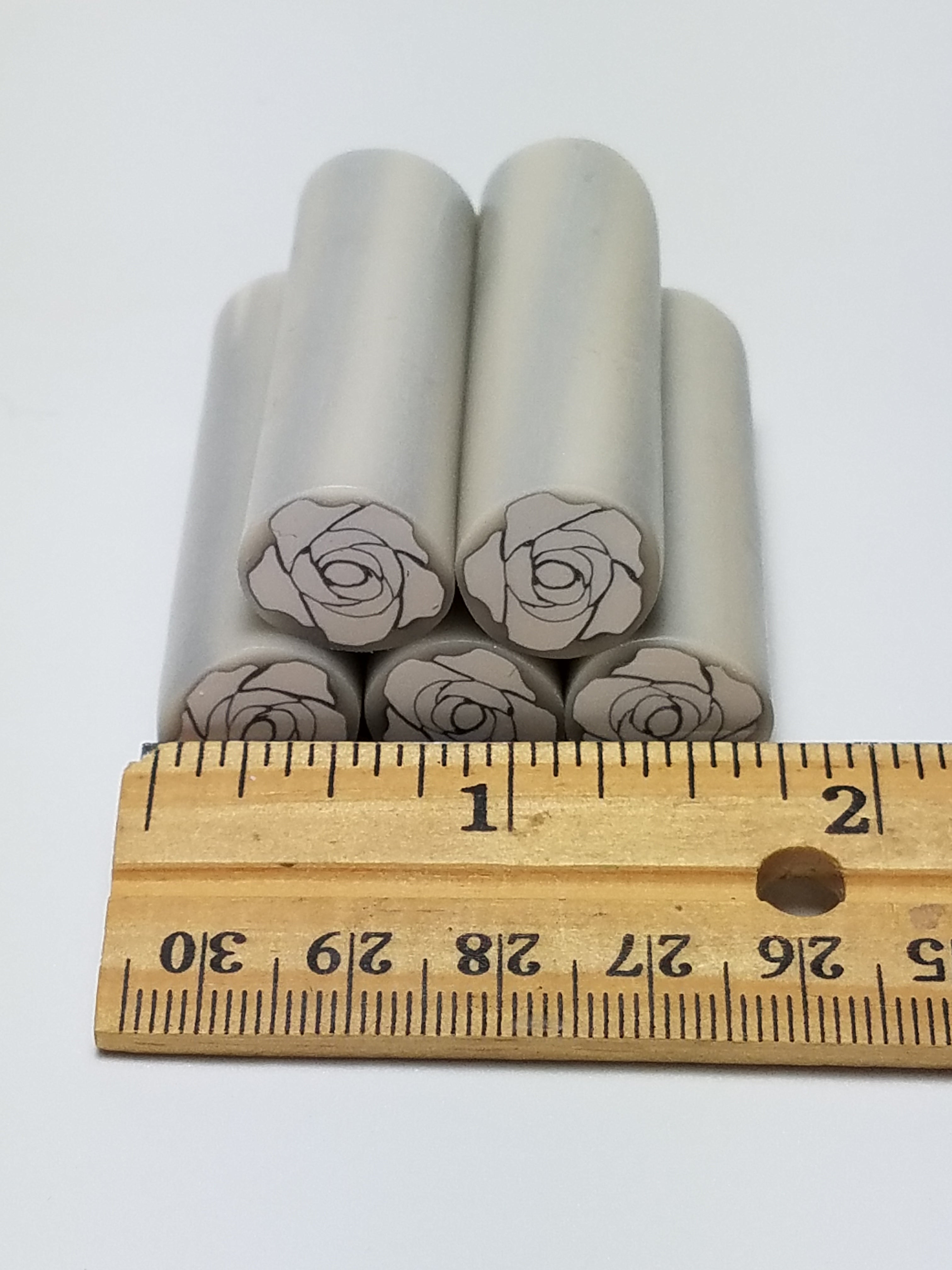 White Rose Cane with a Silver Lining, Raw Clay Canes