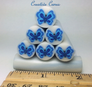 Blue Butterfly Raw Clay Cane