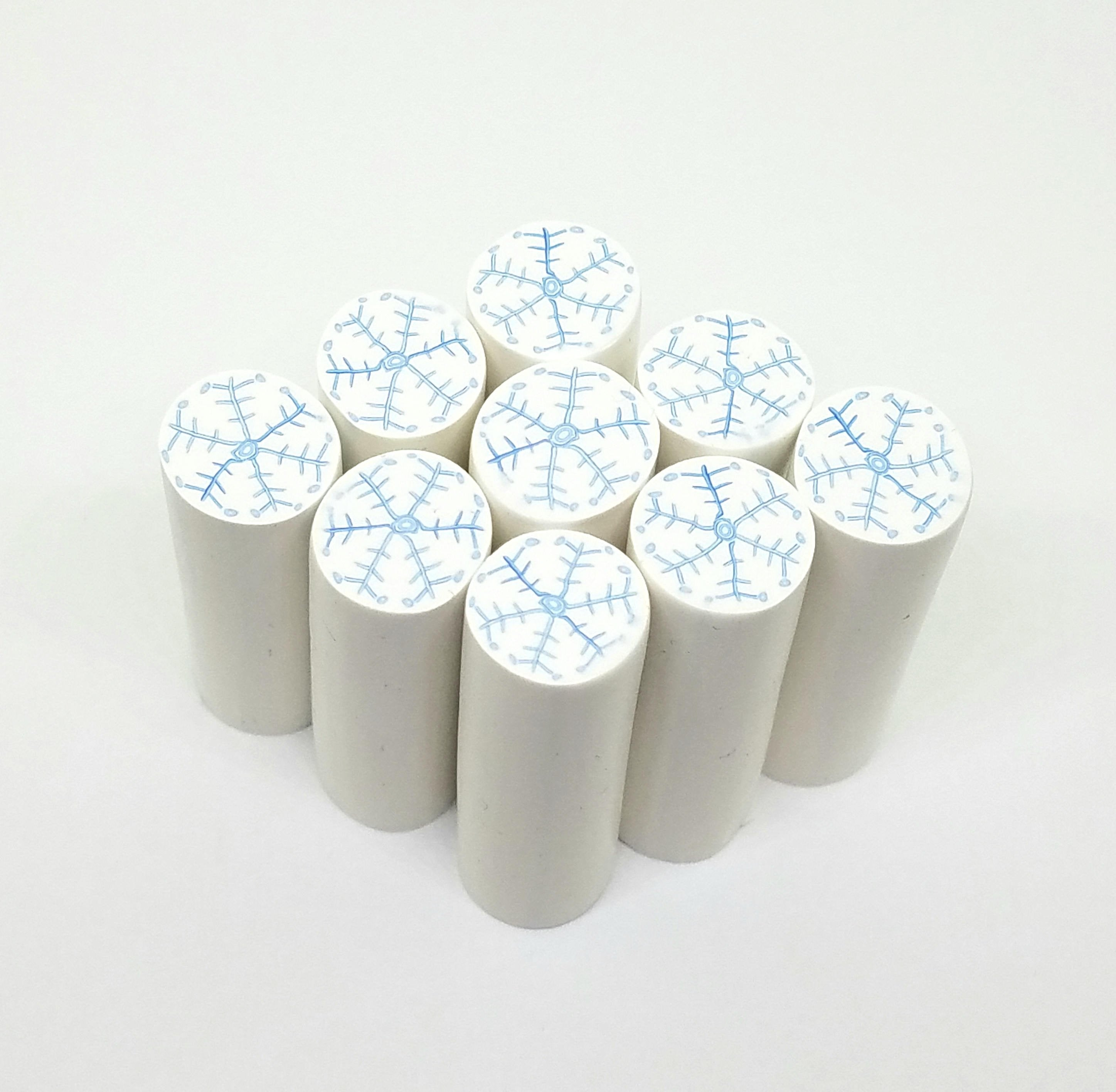 Snowflake Cane, Raw Clay Canes. White Background (not translucent)