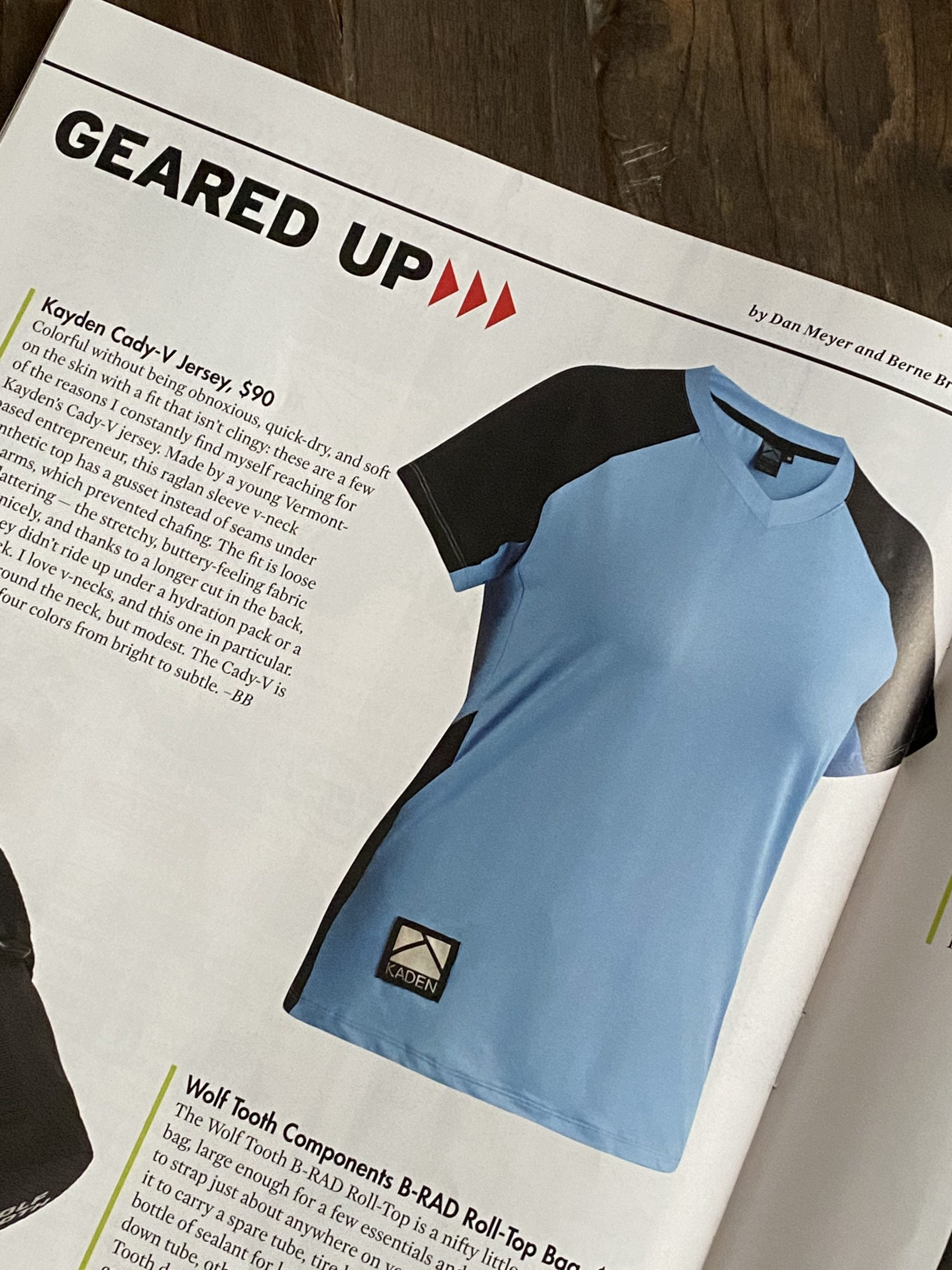 Cady-V Jersey Review in Adventure Cyclist Magazine - Publication Photo