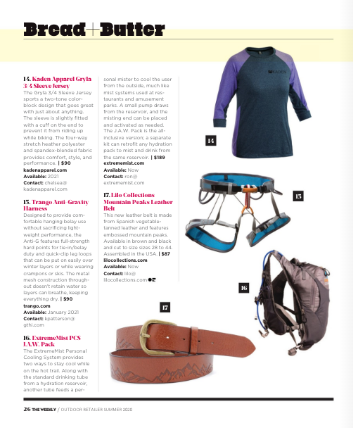 """Gryla 3/4 Sleeve Jersey Featured in """"The Weekly"""" From Outdoor Retailer - Full Page Image"""