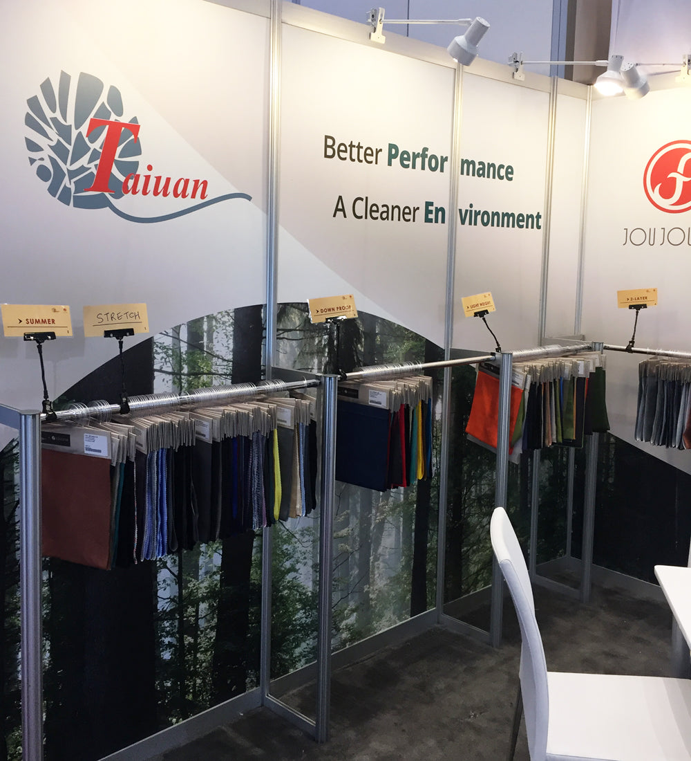 How We Source and Select Our Fabrics For Women's Mountain Bike Apparel - Tradeshow Booth