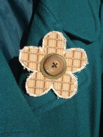 natural/mustard/green cloth brooch