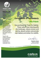 Trees for Life Certificate of Trees planted July 2019