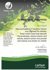 Trees for Life Certificate of Trees Planted January 2020