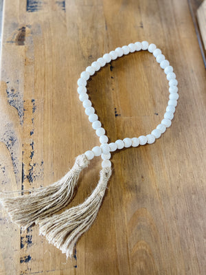 White Beaded Garland with Tassel