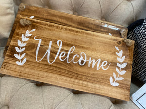 Wooden Welcome Sign with Rope