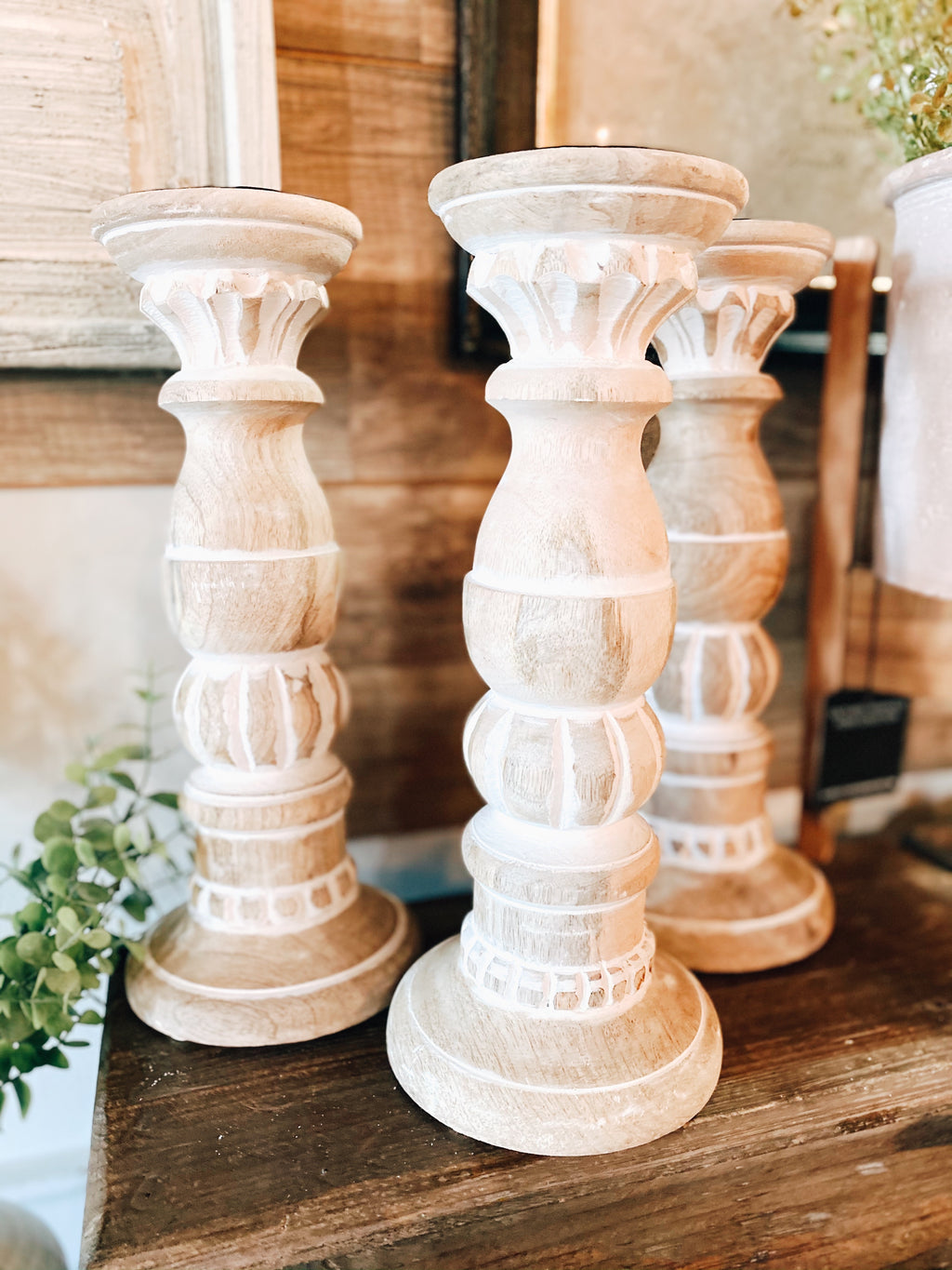Carved Wood Candle Pillar
