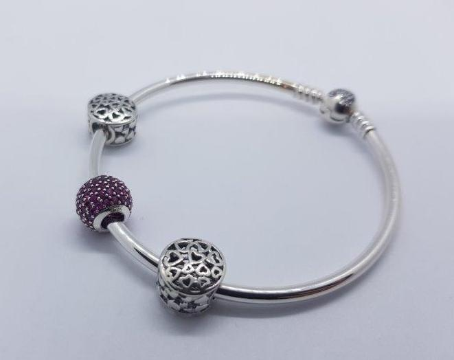 S925 Sterling Silver Pandora Style Bracelet With Charms 19