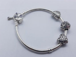 S925 Sterling Silver Pandora Style Bracelet With Charms 13