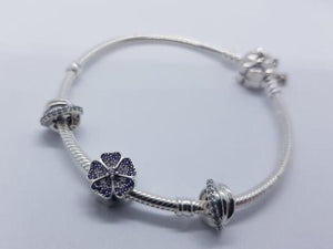 S925 Sterling Silver Pandora Style Bracelet With Charms 16