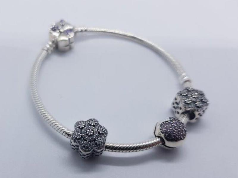 S925 Sterling Silver Pandora Style Bracelet With Charms 15