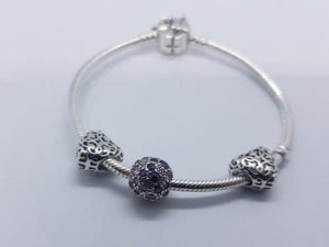 S925 Sterling Silver Pandora Style Bracelet With Charms 11