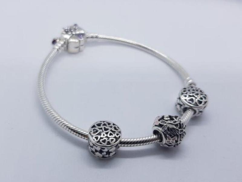 S925 Sterling Silver Pandora Style Bracelet With Charms 12