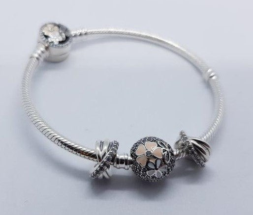 S925 Sterling Silver Pandora Style Bracelet With Charms 1