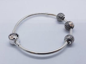 S925 Sterling Silver Pandora Style Bracelet With Charms 2