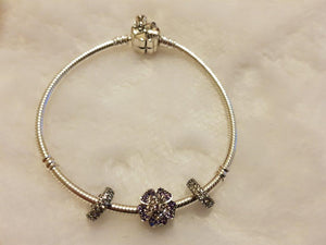 S925 Sterling Silver Pandora Style Bracelet With Charms 17