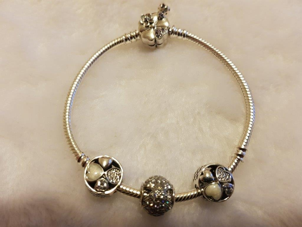 S925 Sterling Silver Pandora Style Bracelet With Charms 18