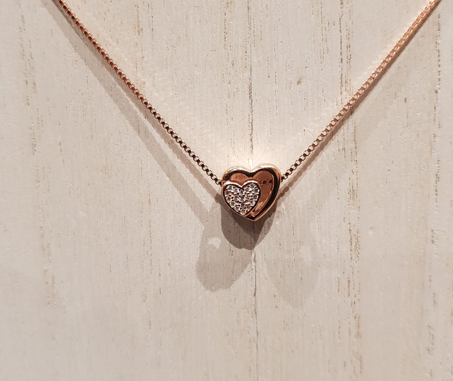 S925 Sterling Silver Heart To Heart  Necklace For Her (18K Rose Gold Plated)